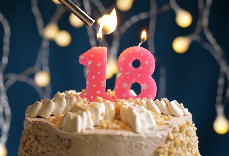 Eine dekorierte Torte mit Kerzen passend zum 18. Geburtstag